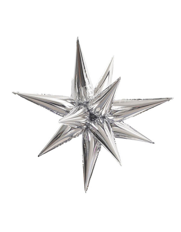 "40"" Jumbo 12 Point Silver Starburst Foil Balloon"
