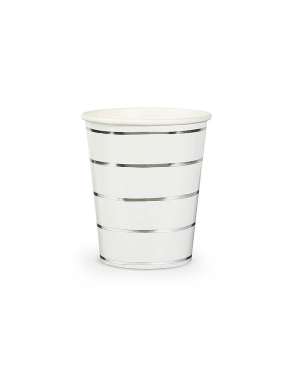 Daydream Society Frenchie Stripes 9oz Silver Striped Cups Set of 8