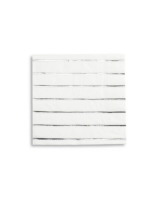 Daydream Society Frenchie Strips Silver Striped Large Napkins - Set of 16