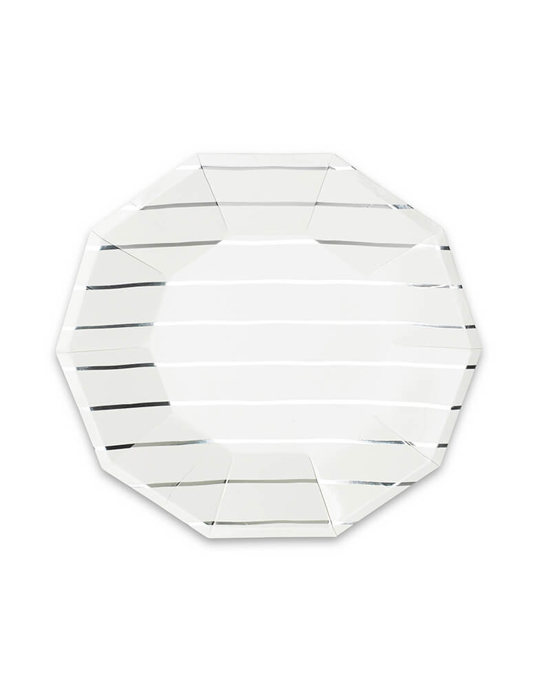 Daydream Society Frenchie Stripes Silver Striped Large Plates - Set of 8