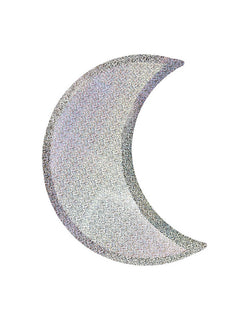 Meri Meri Halloween Silver Sparkle Moon Plates. Die cut Moon sharp with silver sparkle foil, These spectacular silver sparkle moon plates will look fabulous at any celebration. Perfect for Halloween party, Space themed birthday party, Blast off birthday party, Two the Moon Birthday Party,trick-or-treat Halloween party, Haunted House Birthday Party, Witch Party, or any party where you want lots of shimmer and shine for a stylish effect.