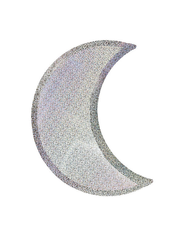 Meri Meri Halloween Silver Sparkle Moon Plates. Die cut Moon sharp with silver sparkle foil, These spectacular silver sparkle moon plates will look fabulous at any celebration. Perfect for Halloween party, Space themed birthday party, Blast off birthday party, Two the Moon Birthday Party,trick-or-treat Halloween party, Haunted House Birthday Party, or any party where you want lots of shimmer and shine for a stylish effect.