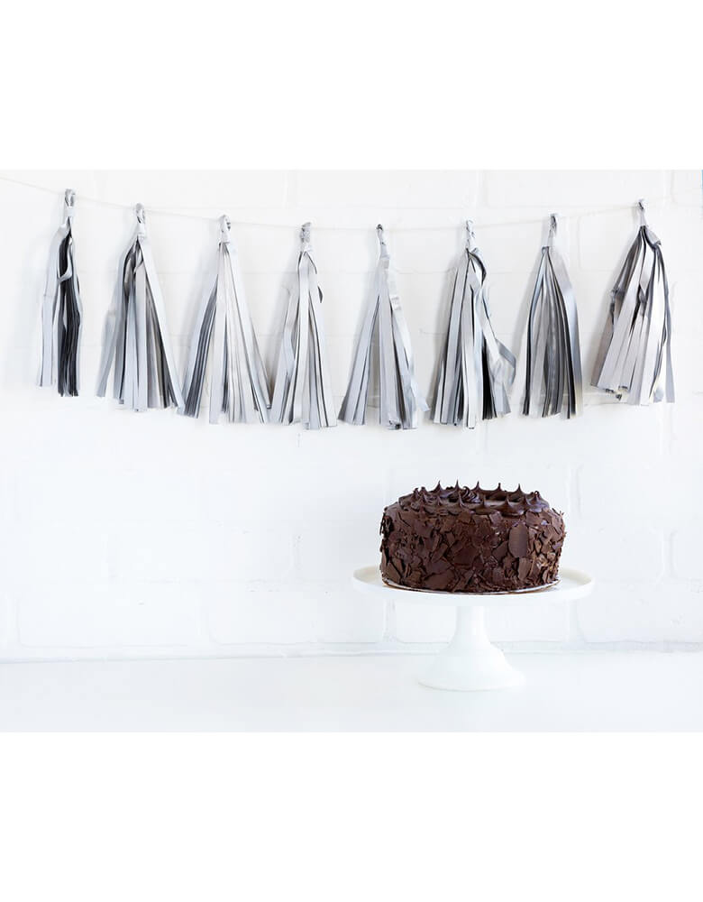 My Mind's Eye Silver Tassel Banner hung over a dessert table with a cake