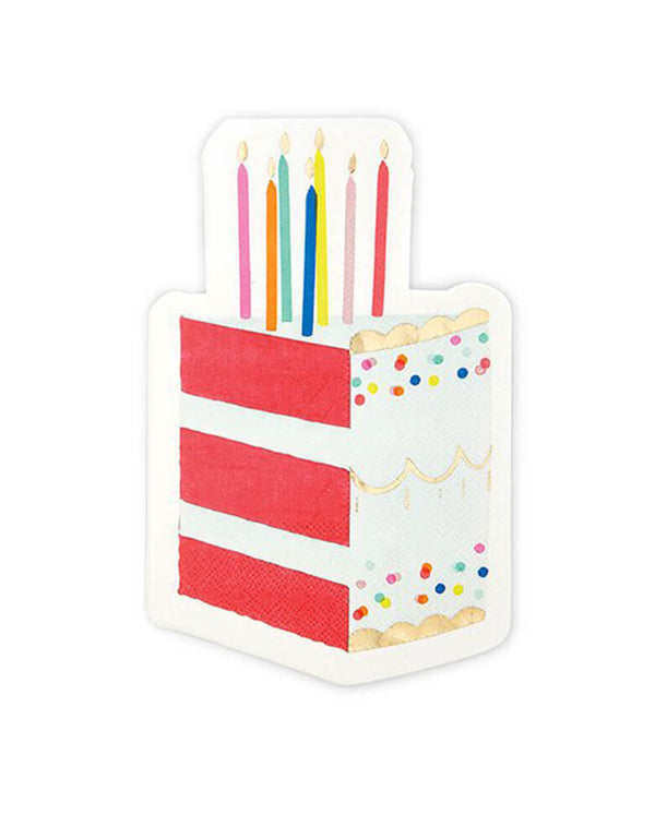 Slant Birthday Cake Napkins, 5 x 8 inches, Pack of 16.  Happy birthday party supplies - napkins feature a slice of birthday cake! These large die-cut birthday cake napkins is perfectly for any birthday celebrations