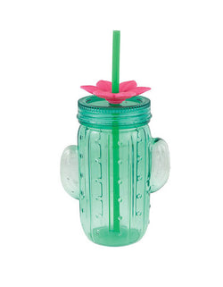Slant Cactus Sipper, Acrylic Travel Drink with Lid & Straw Tumbler. Stay hydrated at your summer party using this Cactus Sipper with straw. The green plastic cup is a cactus and includes a green plastic straw with flower topper. Use this cup to enjoy lemonade, ice tea, or another delicious summer beverage at your cactus themed party, fiesta, or Cinco de Mayo celebration