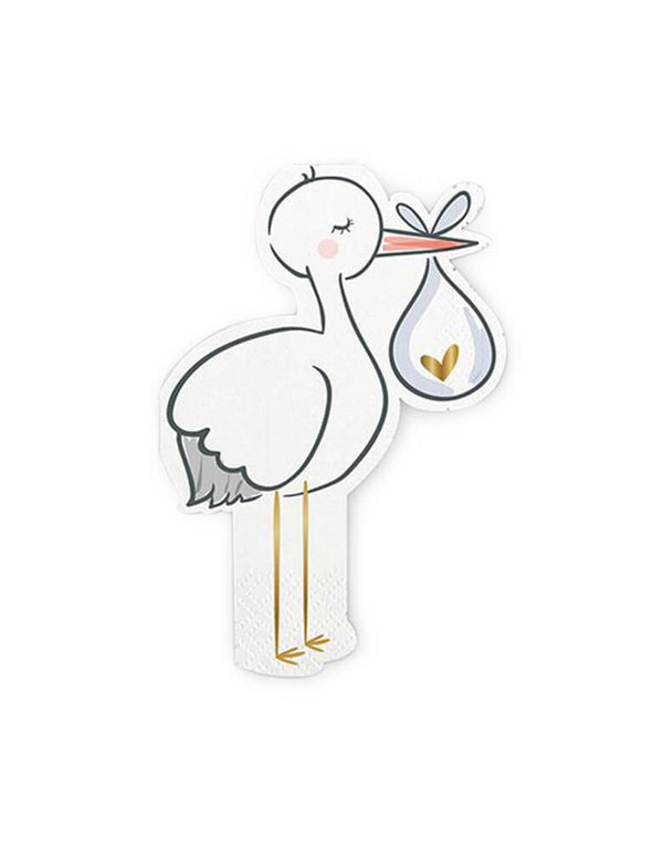 Slant-Strok Napkins. 7 x 5 inches, Pack of 20. Baby shower PARTY SUPPLIES: Stork baby delivery napkins feature a white stork carrying a white cloth bundle with heart on it. These die-cut stork paper napkins from Slant Collections are embellished with gold foil. high quality party-ware is perfect for for a Baby Shower, gender reveal party, baby boy shower and baby girl shower.
