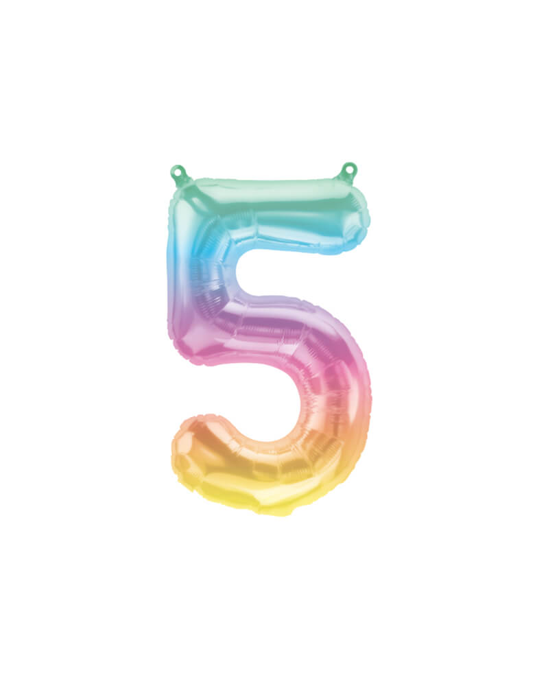 "Northstar Balloons_16""_Small-Airfill-Only-Jelli-Rainbow-Number-5-Foil-Balloon"