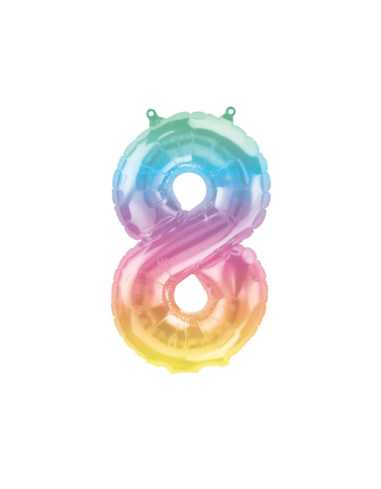 "Northstar Balloons_16""_Small-Airfill-Only-Jelli-Rainbow-Number-8-Foil-Balloon"