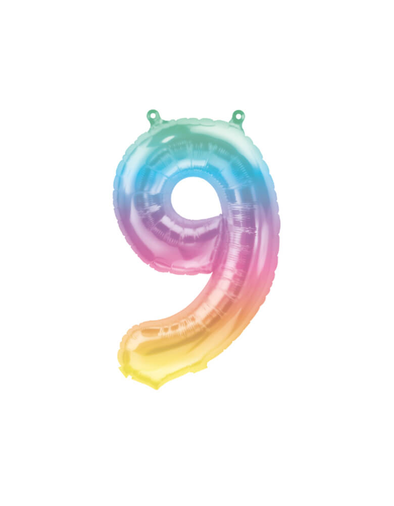 "Northstar Balloons_16""_Small-Airfill-Only-Jelli-Rainbow-Number-9-Foil-Balloon"