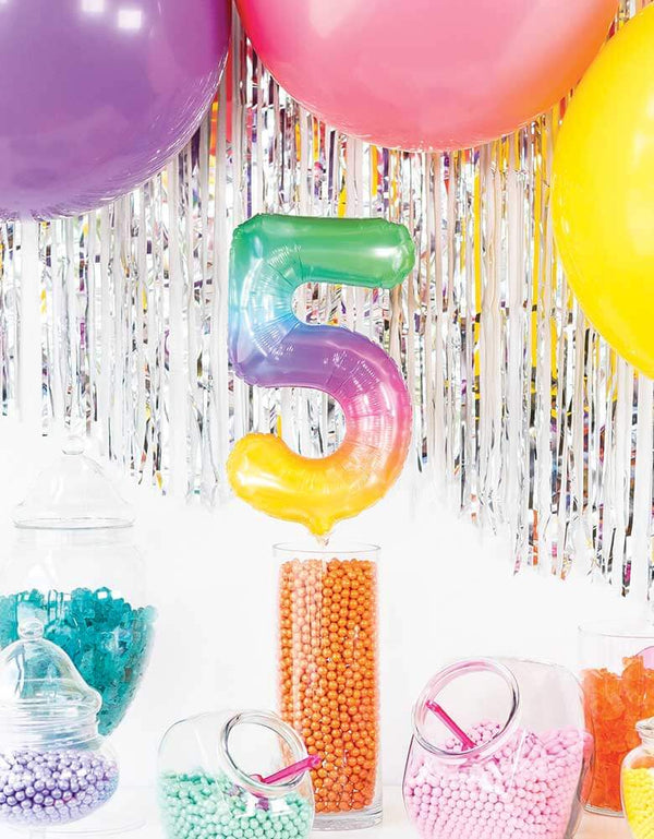 "Northstar Balloons_16""_Small-Airfill-Only-Jelli-Rainbow-Number-Foil-Balloon"