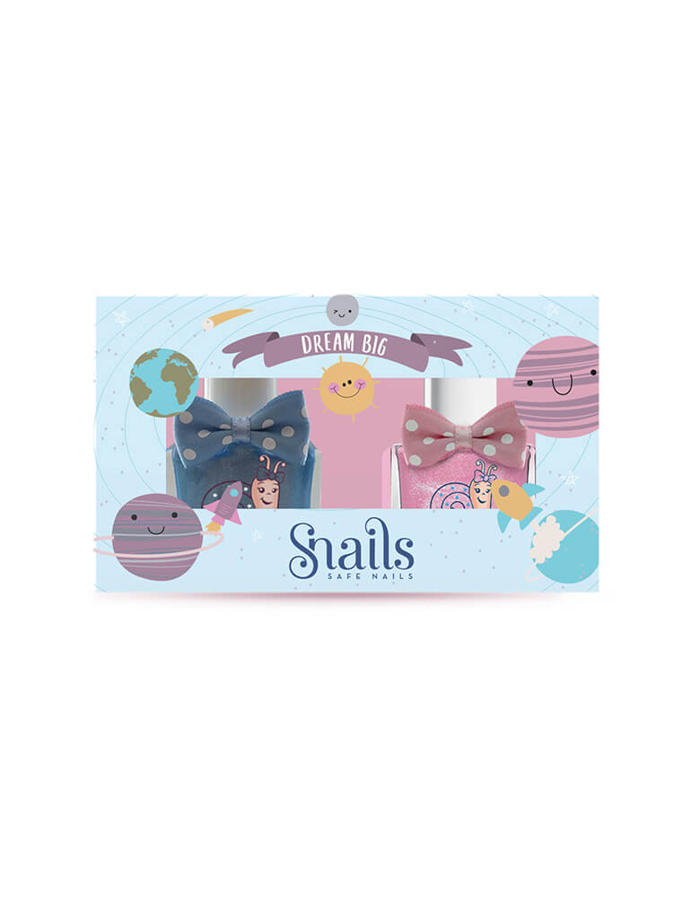Snails Washable Nail Polish Gift Set - Dream Big with solar system illustration packaging. Snails is an odorless, water-based, washable nail polish for kids of all ages. Being washable means no stains. It also means no need for harsh nail polish removers - soap and water will do the trick!  This set contains two of our full-size 10 .5 ml bottles with Ladybird and Imaginative shades. It's a perfect gift for your little one!