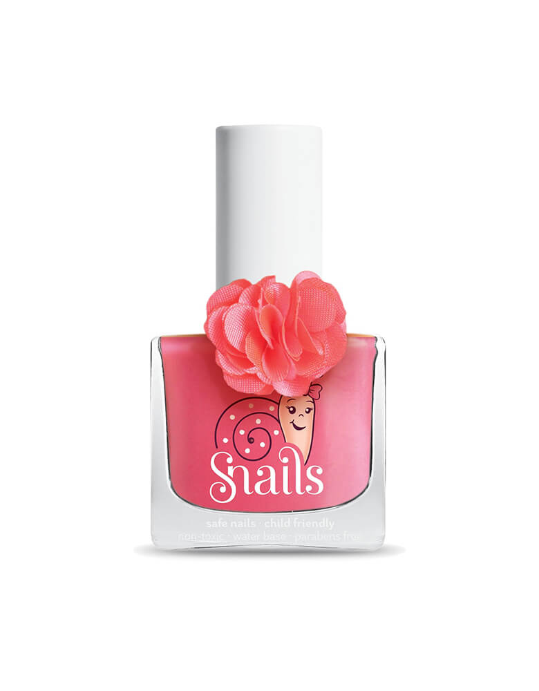 "Snails Washable Nail Polish , Rose color in special ""Fleur"" collection. Snails is an odorless, water-based, washable nail polish for kids of all ages. super cute bottle with a flower decorated on it"