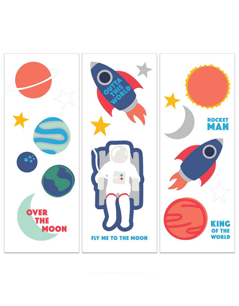 My Mind's Eye Space Rocket Temporary Tattoos set featuring rocket ships, moon, planets, astronauts and stars illustrations