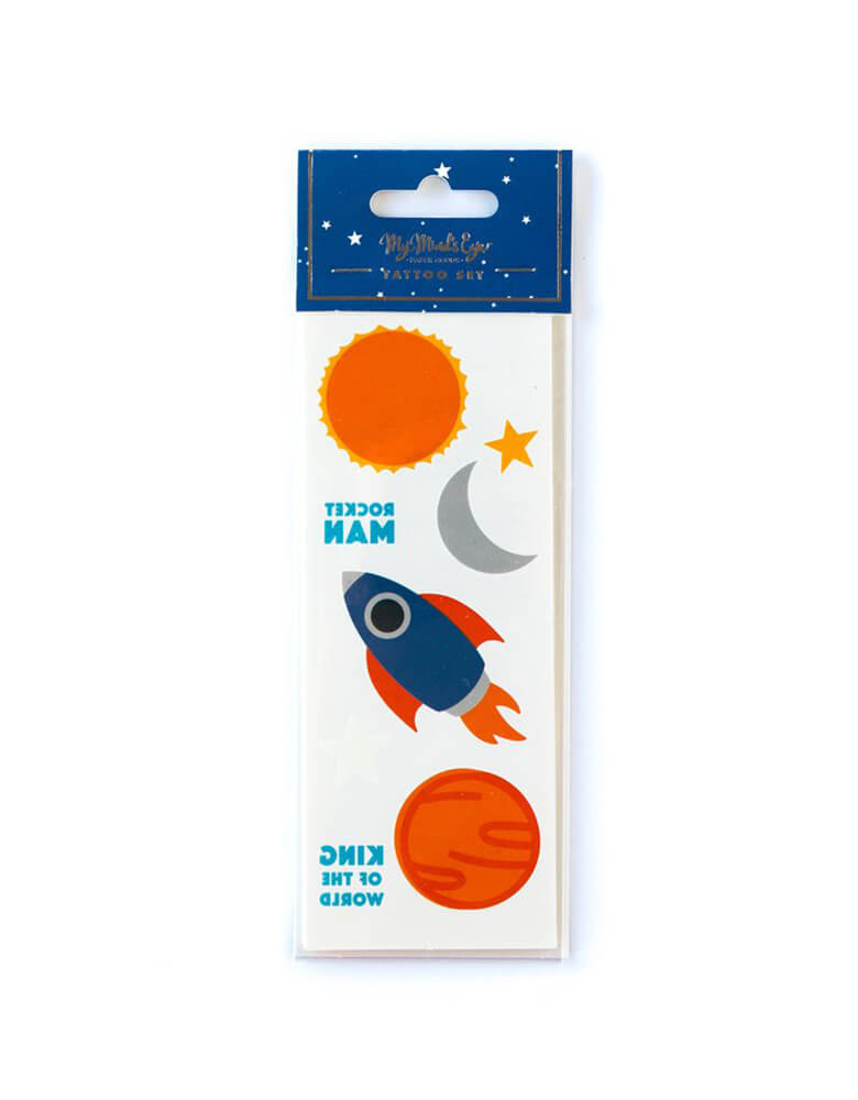 My Mind's Eye Space Rocket Temporary Tattoos set featuring rocket ships, moon, planets, and stars illustrations