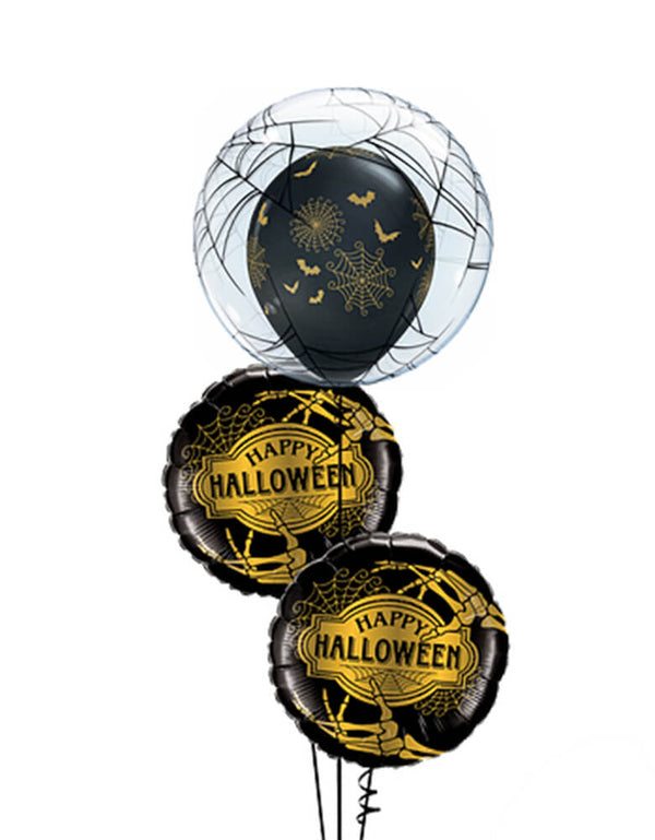 "Halloween Balloon bouquet of ""Spider-Webs & Bats"" latex-stuffed Double Bubble. Special balloon decoration for halloween party, trick-or-treat Halloween party, Haunted House Birthday Party"