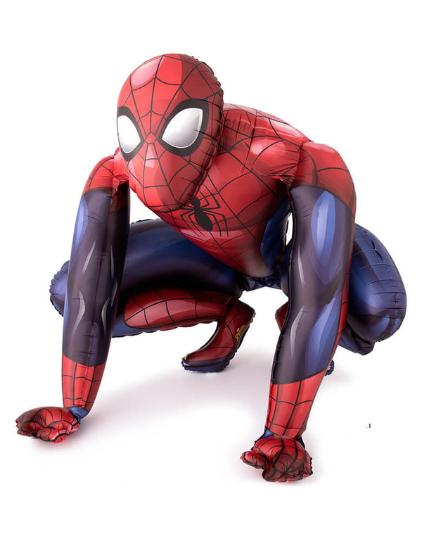 Anagram Balloons - 36324 Spider-Man AirWalkers® P93. 36inches Spider-man AirWalker Foil Balloon. This giant foil balloon is three feet tall and designed to look like Spider-Man in a crouching position. This awesome Spider-man AirWalker balloon is perfect for a superhero themed party.