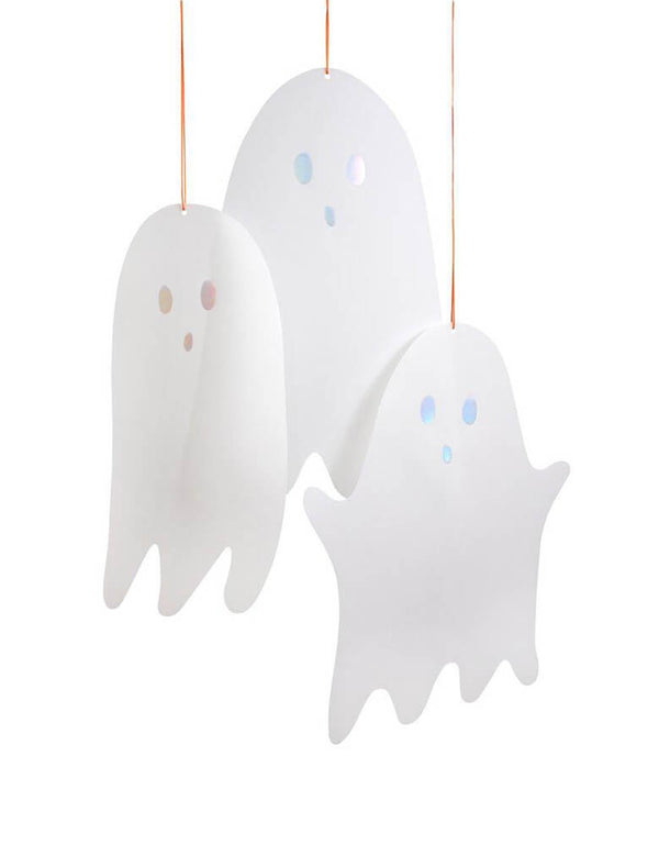 Meri Meri Spooky Ghost Decorations,  Pack of 10 in 3 sizes Ghost. These eerie translucent ghost decorations, with shimmering silver holographic foil mouths and eyes, will look spectacularly scary when hung from doorways or wherever the light will catch them. Each has a bright orange cord that makes them easy to hang and looks fantastic for your modern spooky halloween party, trick-or-treating halloween party, nightmare before christmas party, witch themed party and all halloween related celebrations