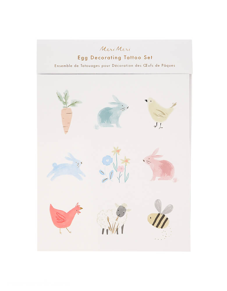 Meri Meri Spring Bunny Egg Decorating Tattoo Kit. These adorable tattoos featuring 3 sheets in each kit, 27 tattoos in total with 9 darling water color designs of bunnies, carrots, flowers, birds and bees character. decorating them on your eggs, Make your Easter eggs look amazing this year's Easter day, easter party