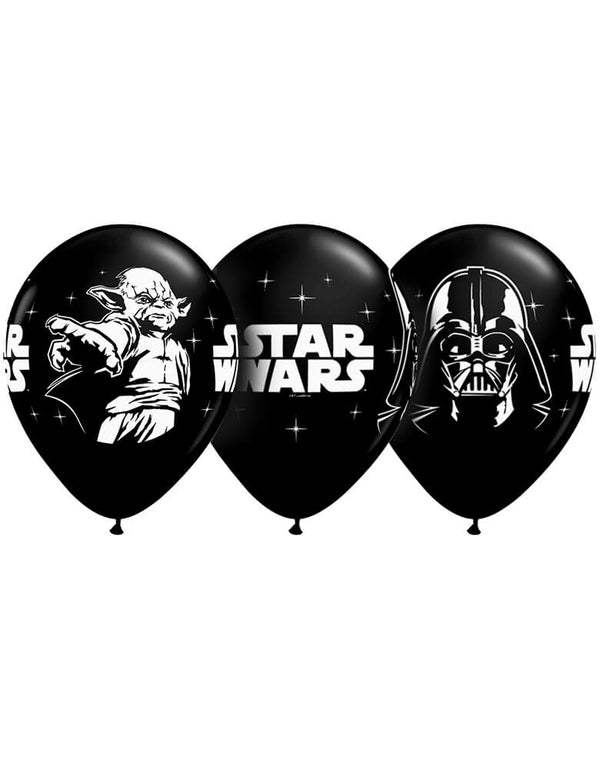 Qualatex Balloons - Star Wars Latex Balloon. Star Wars Biodegradable Latex Balloons Onyx Black with White Prints All-Around of Darth Vader and Yoda, 11-Inch Round, Made from USA By Qualatex