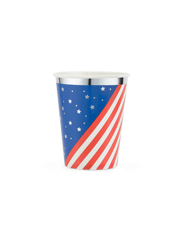 True Brands Cakewalk Party - Stars & Stripes Party Cups. Pack of 8. These paper cups feature a red and white stripes, and blue with stars pattern with silver details. Sip your favorite beverages with American pride at your barbeque using Patriotic Cups!