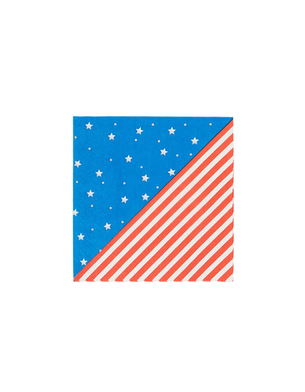 True brand Cakewalk party -  Stars & Stripes Small Napkins. Featuring red and white stripes, blue with white stars pattern. Pair these napkins with other red, white, and blue tableware. They are perfect a 4th of July picnic basket or a backyard barbecue.