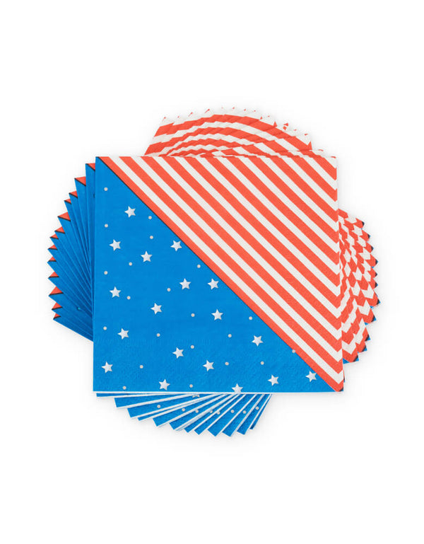 Stack of True brand Cakewalk party - Stars & Stripes Small Napkins. Featuring red and white stripes, blue with white stars pattern. Pair these napkins with other red, white, and blue tableware. They are perfect a 4th of July picnic basket or a backyard barbecue, Patriotic themed party.
