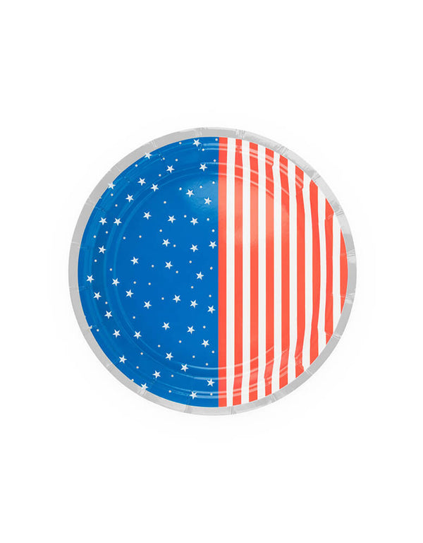 True brand Cakewalk party - Stars & Stripes Small Plates. Featuring red and white stripes, blue with white stars pattern with silver details. Use these plates to complete the rest of the star-spangled tableware for your July 4th party!