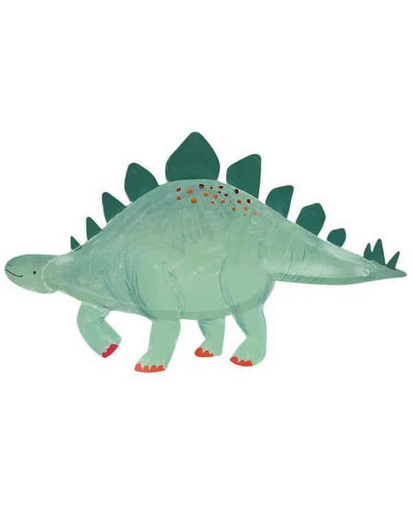 Meri Meri Stegosaurus Platters in Green bright color and copper foil details, pack of 4 platters, perfect to display Jurassic treats at your dinosaur party
