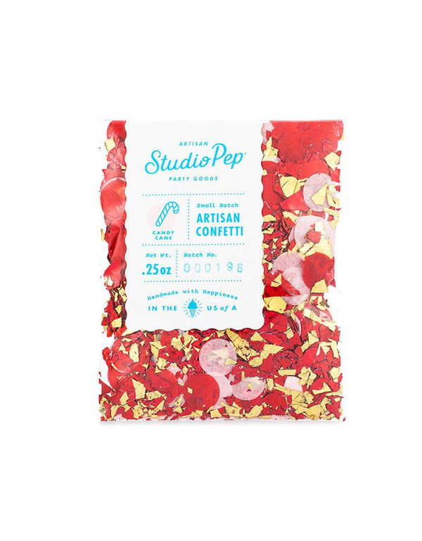 Studio Pep Holiday Christmas Candy Cane Artisan Confetti Mini Bag in dark red, red, pink and gold shreds