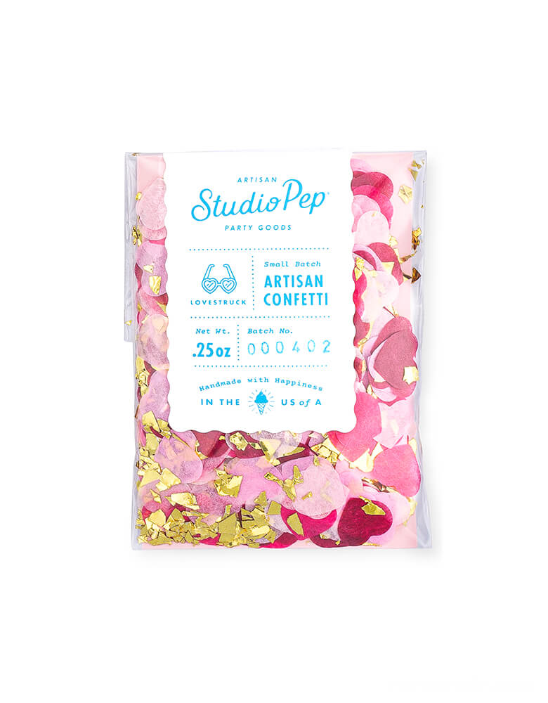 "Studio-Pep-Confetti of Lovestruck Artisan Confetti Mini Bag. featuring 0.25 ounce of artisan confetti & 0.5"" heart-shaped confetti in pink, wildberry and gold shred in a bag, sprinkle on one table or for putting some in the envelopes as a fun surprise for your Valentine's or Galentine's Day celebration"