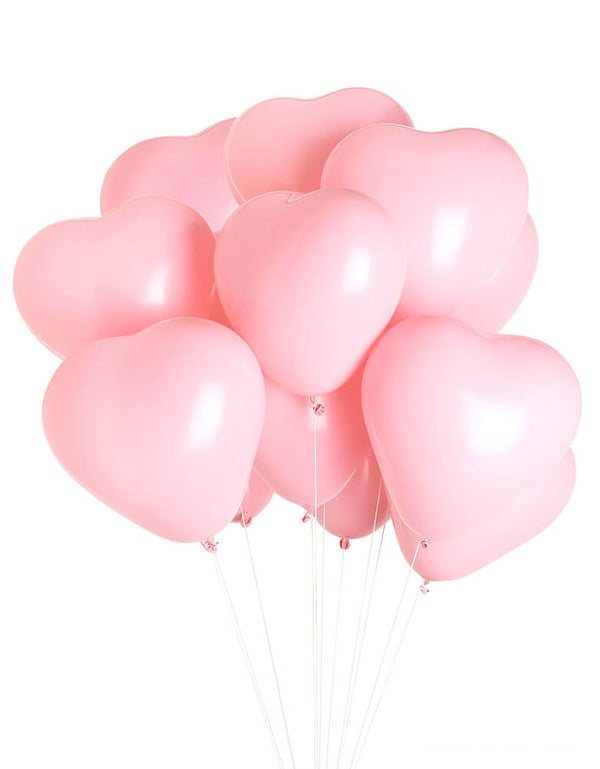 "Love is in the air with pink Heart Balloons. Studio Pep - Be Mine Heart Balloons. set of 12, 11"" diameter pink heart-shaped latex balloons, A sweet touch to celebrate those you love on Valentine's Day, for an anniversary or a shower"