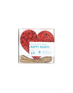Studio-Pep Happy Hearts Banner in Red Glitter. This glittered heart shaped banner in bright red color is simply gorgeous! It's 6ft long,  hand-pressed and is cut from high quality, neon-edge vinyl. It's perfect for decorating your mantle or the little one's shelves in the playroom!