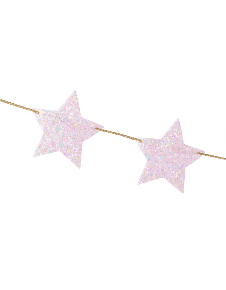 Close up details of Studio Pep glittered star banner in adorable pastel pink color