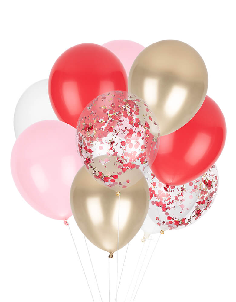 StudioPep Candy Cane Classic Balloon Mix. This mix latex set include 12 balloons with 9 solid colored balloons in red, pink, white and gold + 3 pre-filled confetti balloons. is perfect for your Holiday celebration, Candy Cane Party
