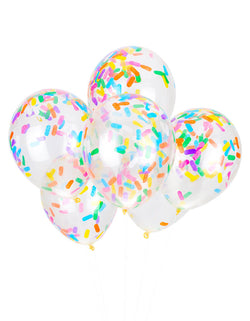 Studio Pep Ice-Cream-Sprinkles-Confetti-Balloons-Inflated balloons mix, six 11-inch balloons pre-filled with adorable ice cream sprinkles confetti in a perfect color combo of bright pink, orange, buttercup yellow, kelly green, fiesta blue pansy and white