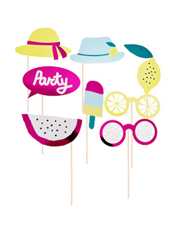 "Summer Party Photo Props, set of 8 designs of yellow party hat, blue party hat with lemon decoration, bubble sign with ""party"" word, passion fruit, ice cream popsicle, Leomon, Fruit shaped ice cream. Fun Party activities, Photo booth props for  a kids Summer theme birthday party, Tutti Frutti Sweet Summer party, twotti frutti birthday, summer wedding, summer swimming pool party, baby shower, bridal shower and all summer vibe celebrations"