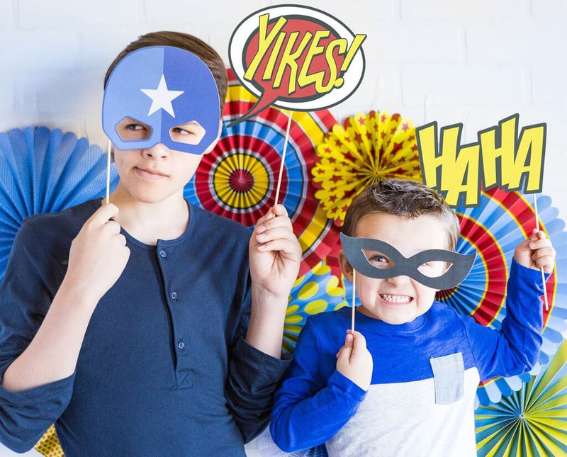 Kids Superhero Party with Comic Action Photo Props