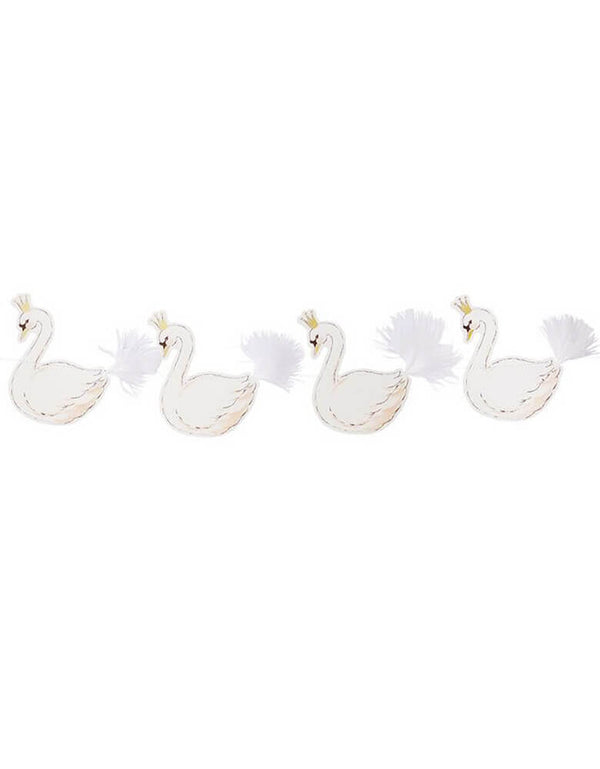 Talking Tables We Heart Swan Hanging Garland, feathered shape of swans with fluffy tails in 10 ft long, wall decoration for a swan princess birthday party