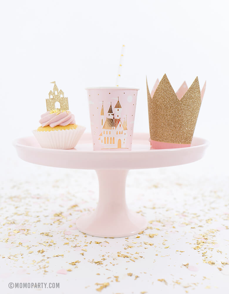 Sweet Princess party ideas of pink cupcake with Castle CupcakeTopper, Day dream socity princess Cup and Princess Crown Party Hat