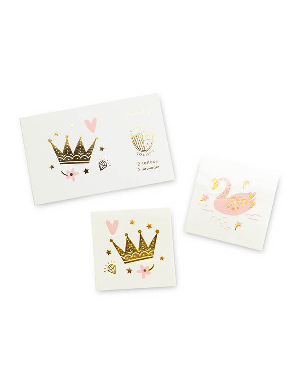 Daydream Society Sweet Princess Temporary Tattoos with swan and crown designs, Set of 2