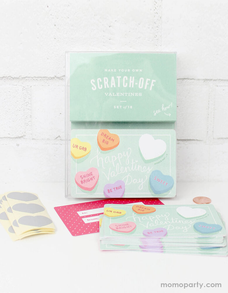 inklings Paperie Sweetheart Valentines Scratch-off card Set, Set of 18. They're perfect for Valentine's card exchange for the little ones, Valentine's day activities, galentine's day gift