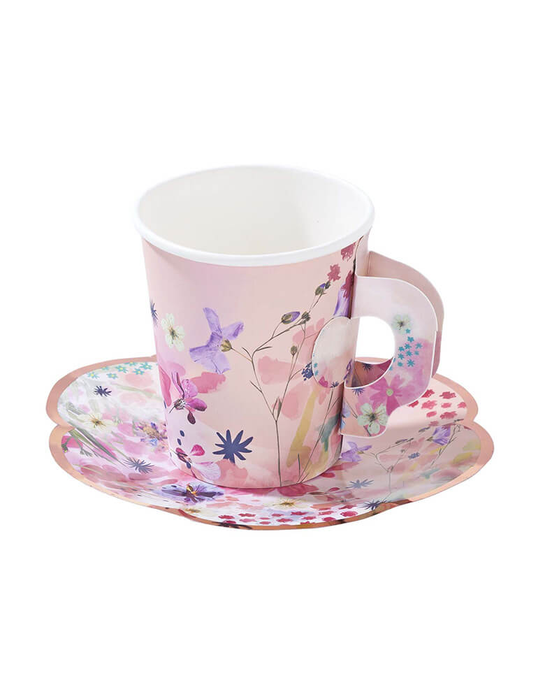 Talking Tables Blossom Girls Cup and Saucer Set with beautiful floral and butterfly designs with gold foil accents
