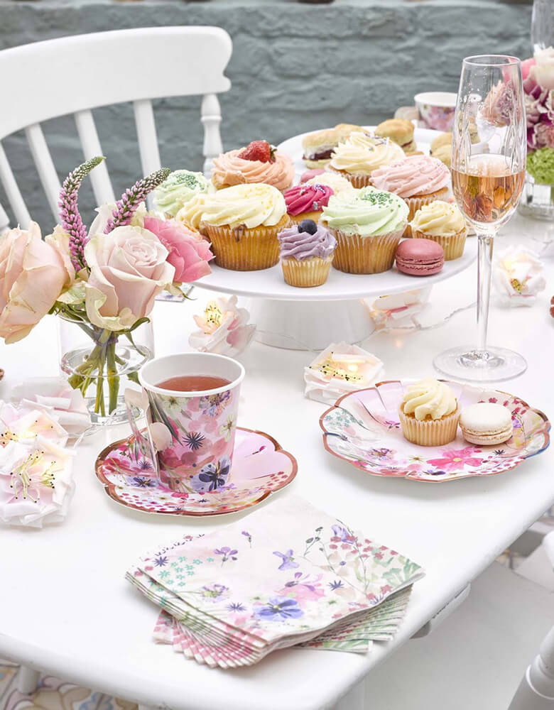 Talking Tables Blossom Girls Cup and Saucer Set with beautiful floral and butterfly designs with gold foil accents   Talking Tables Blossom Girls Party Supplies on a beautiful party table setup