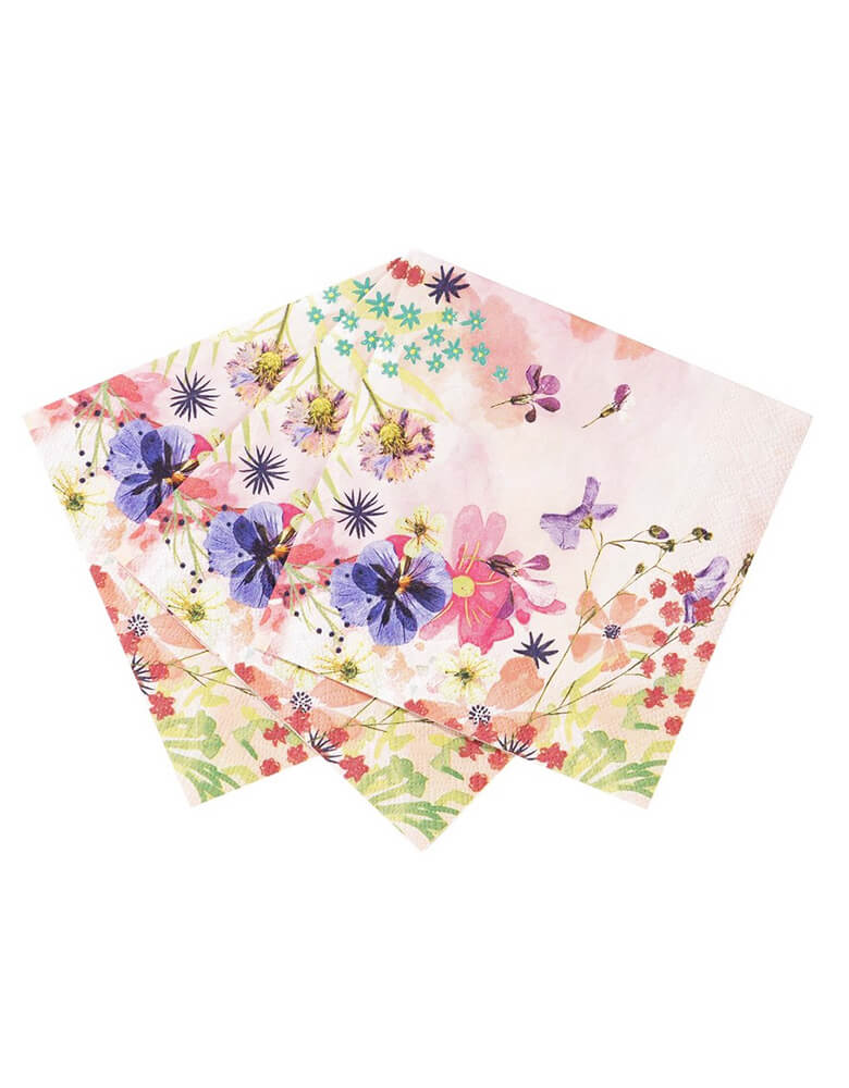 Talking Tables Blossom Girls Light Pink Small Napkins of three with beautiful floral and butterfly designs