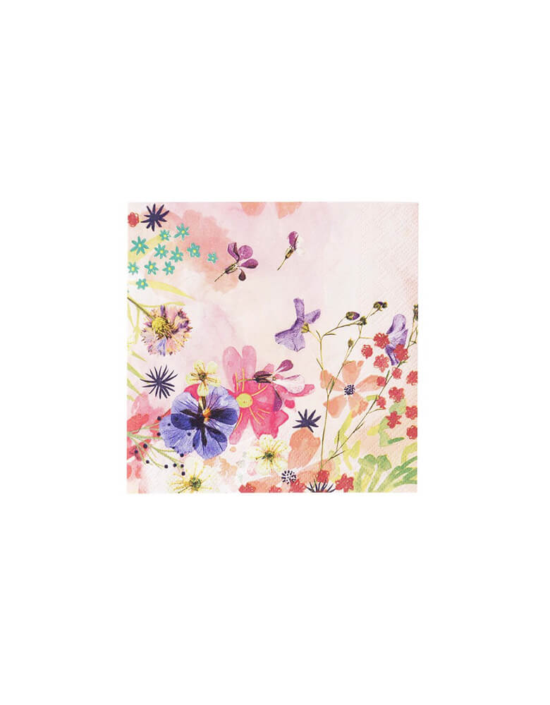 Talking Tables Blossom Girls Light Pink Small Napkin with beautiful floral and butterfly designs