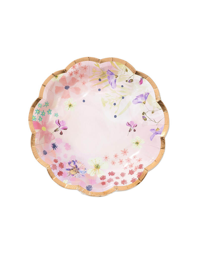 Talking Tables Blossom Girls Small Light Pink Plate with beautiful floral and butterfly designs with gold foil accents