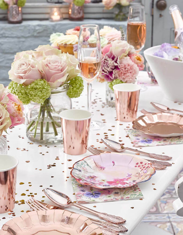 Talking Tables Blossom Girls Party Supplies on a beautiful party table setup