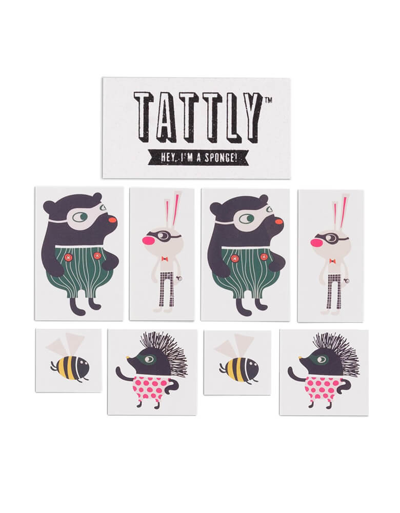 Tattly Temporary Tattoos of Zoo Crew Set By Helen Dardik, includes two each of the following designs by Helen Dardik: Fine Porcupine, Dizzy Bee, Funny Bunny, Fair Bear and Free sponge