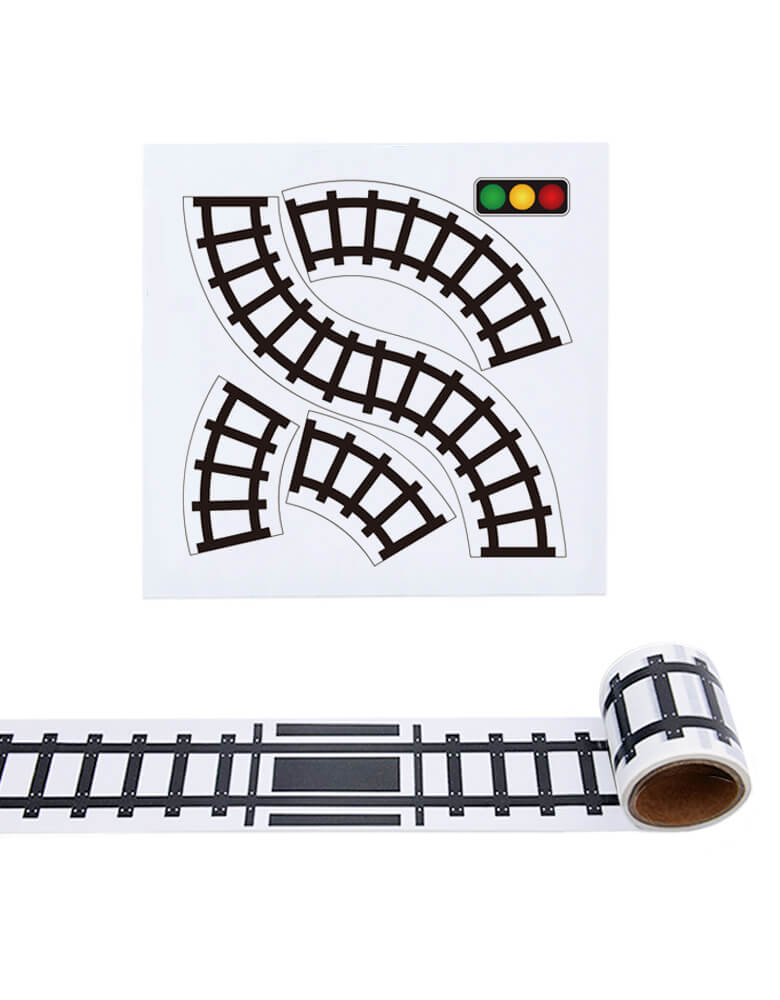 Train Track Tape and Curve Set, Tape Toy Car Track for Kids, Sticker Roll for Cars and Train Sets