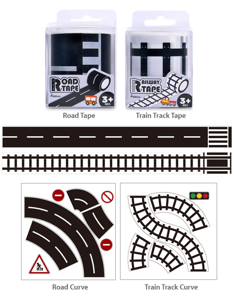 Mideer Railway Train Track Tape, and Road Tape with Road Curve and Train Track Curve